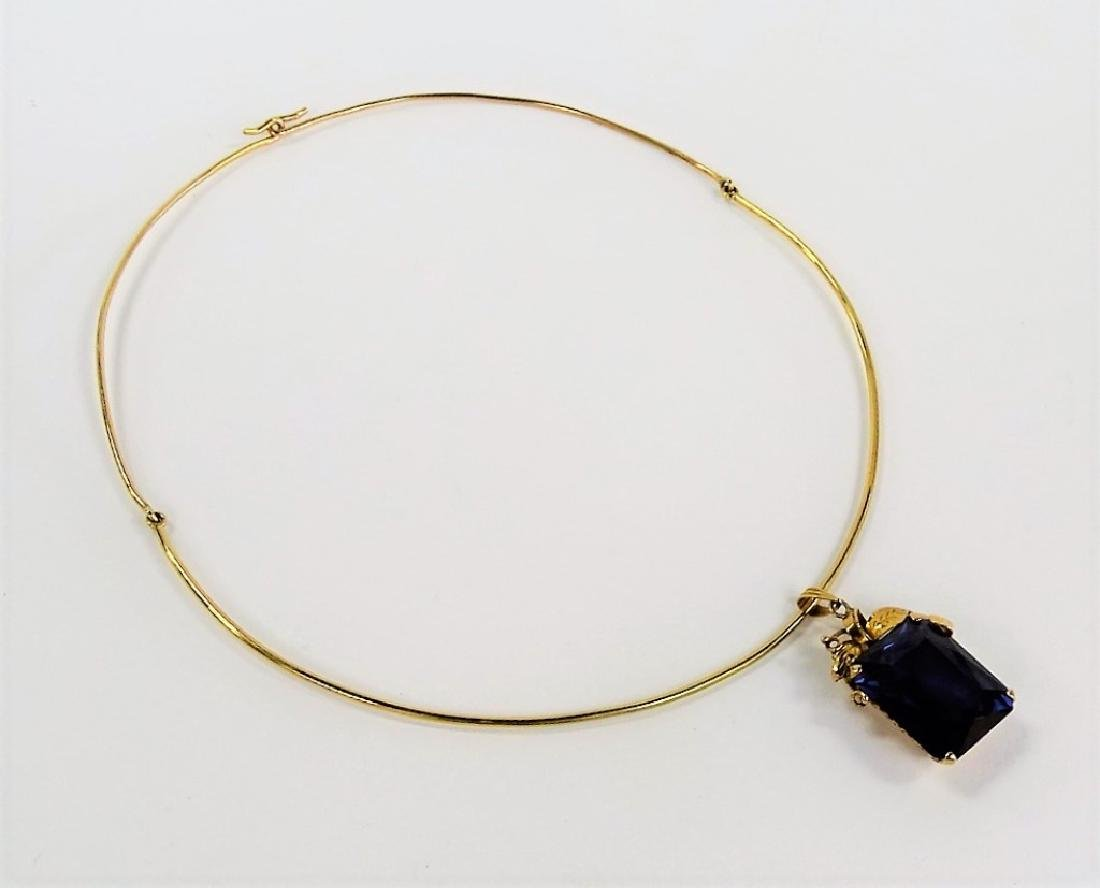 LARGE 14K YELLOW GOLD & AMETYHST CHOKER NECKLACE - 3