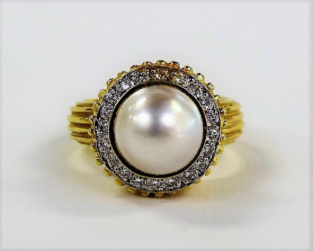 ESTATE 14K YELLOW GOLD MABE PEARL & DIAMOND RING
