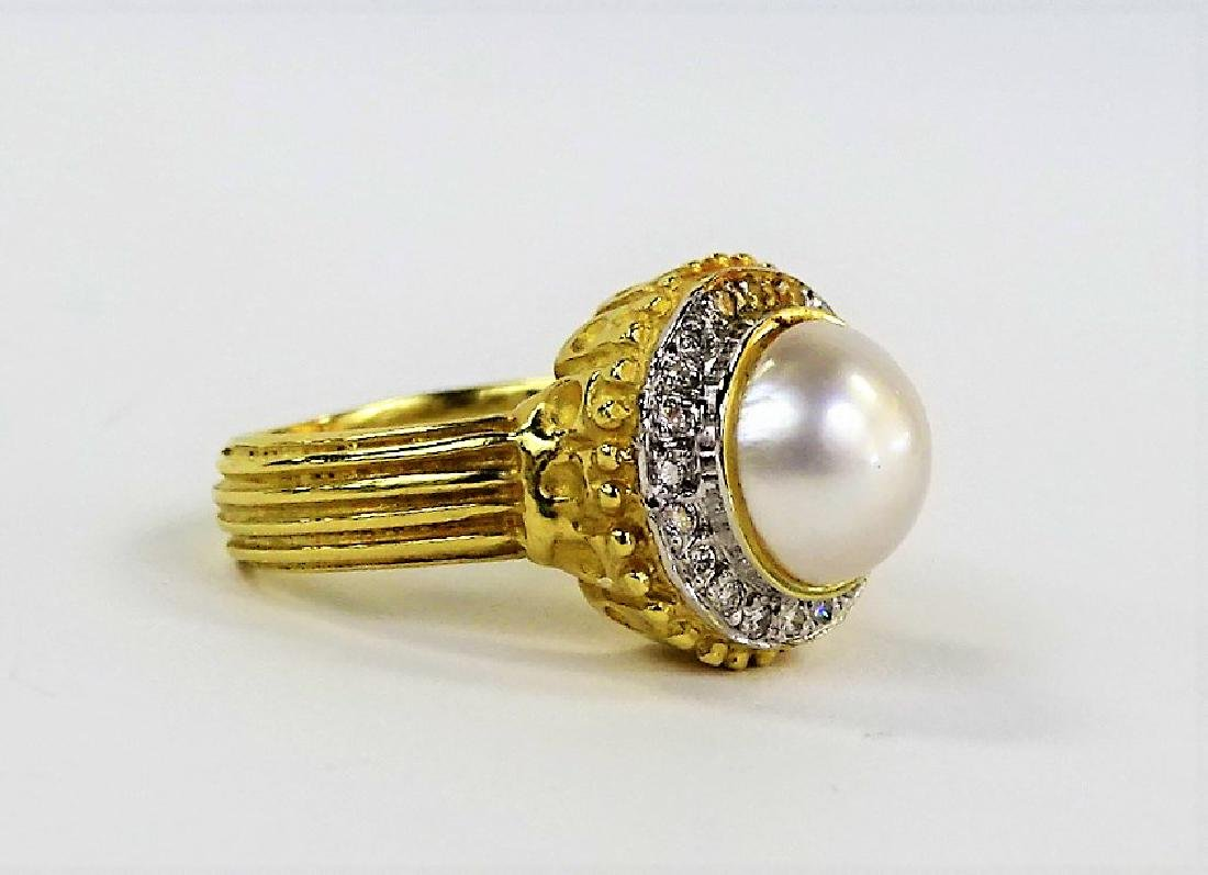 ESTATE 14K YELLOW GOLD MABE PEARL & DIAMOND RING - 2