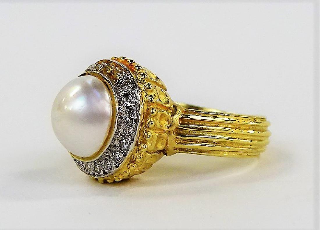 ESTATE 14K YELLOW GOLD MABE PEARL & DIAMOND RING - 3