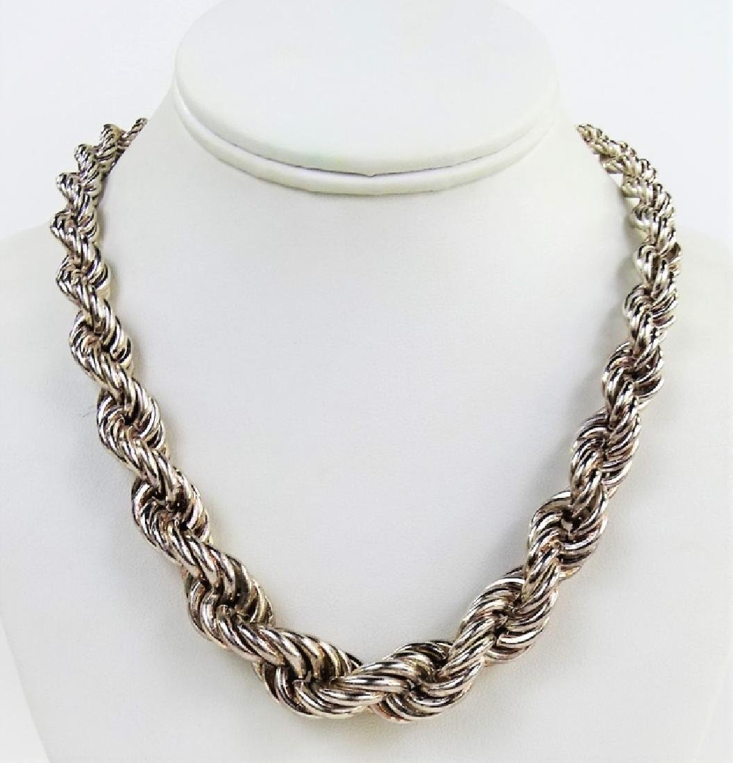 GRADUATED STERLING SILVER TWISTED ROPE NECKLACE