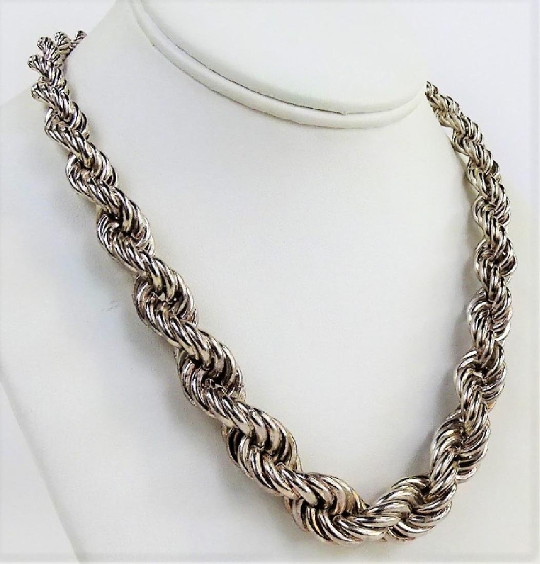 GRADUATED STERLING SILVER TWISTED ROPE NECKLACE - 2