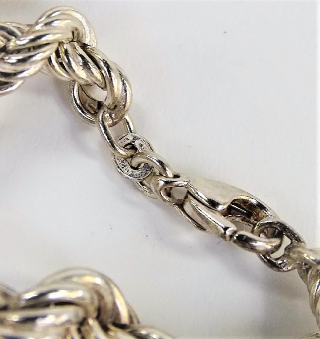GRADUATED STERLING SILVER TWISTED ROPE NECKLACE - 3