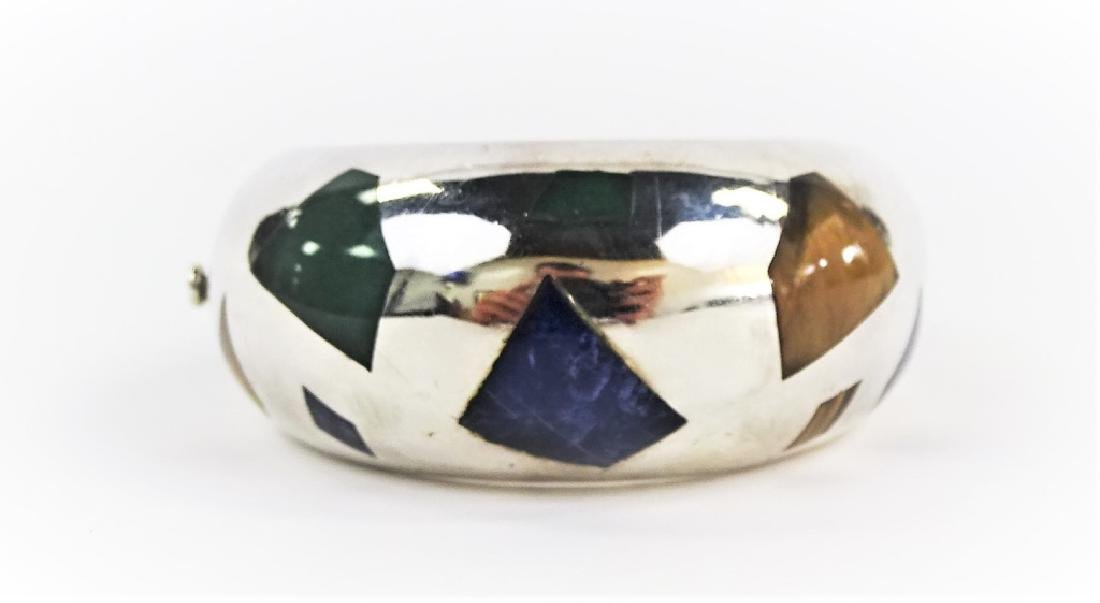 HEAVY TAXCO STERLING SILVER INLAID BRACELET