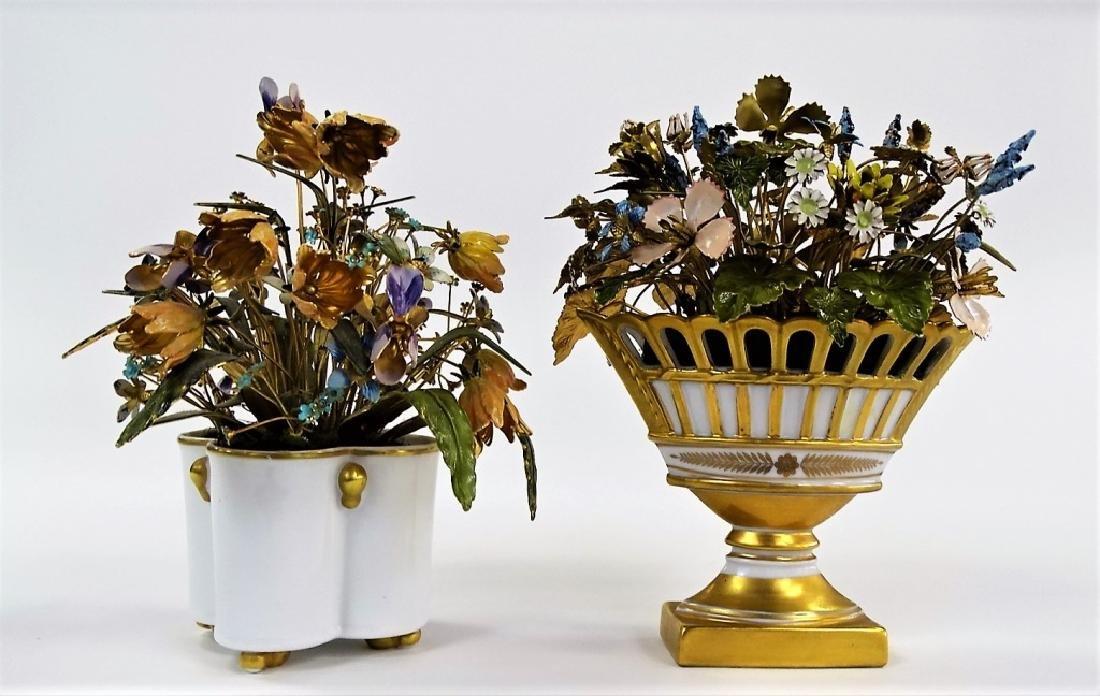 2 DECORATIVE ENAMELED BRASS FLOWER ARRANGEMENTS