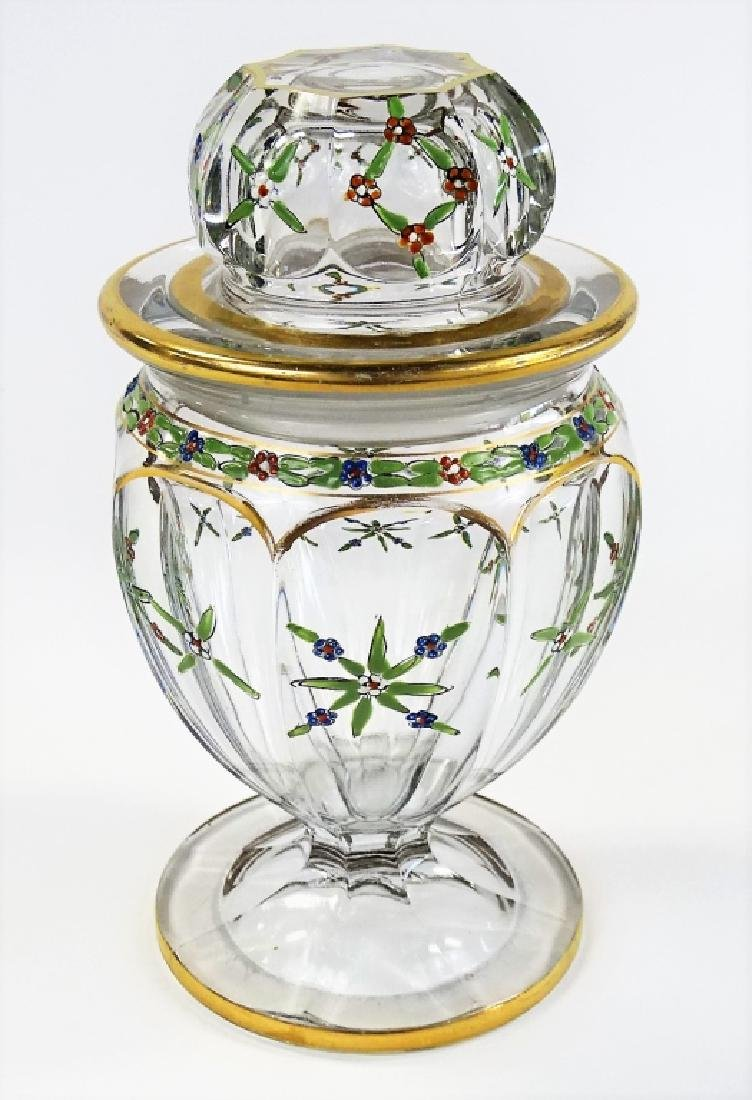 ANTIQUE HAND ENAMELED HEISEY COVERED GLASS JAR