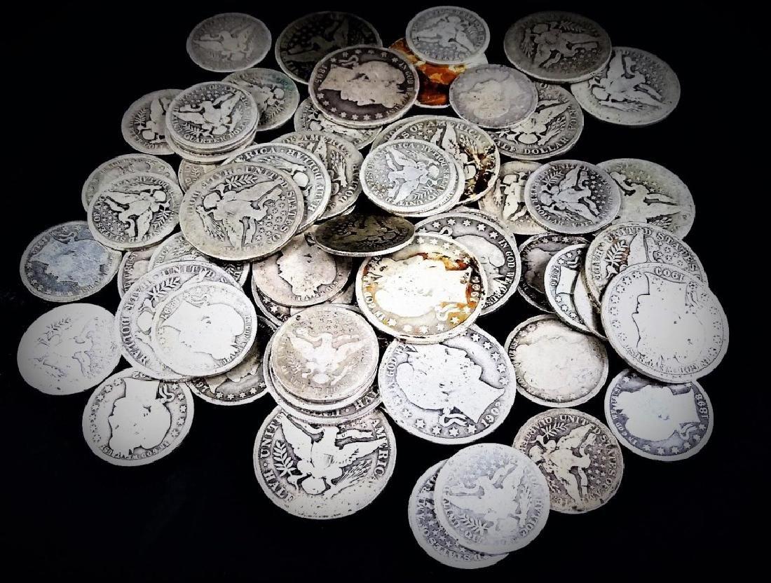 LOT OF 60 U.S. BARBER COINS HALVES & QUARTERS