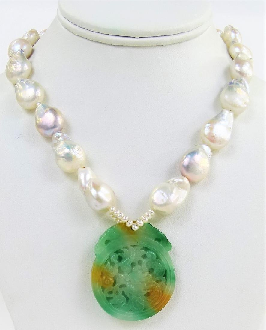 CHINESE CARVED JADE DRAGON BAROQUE PEARL NECKLACE