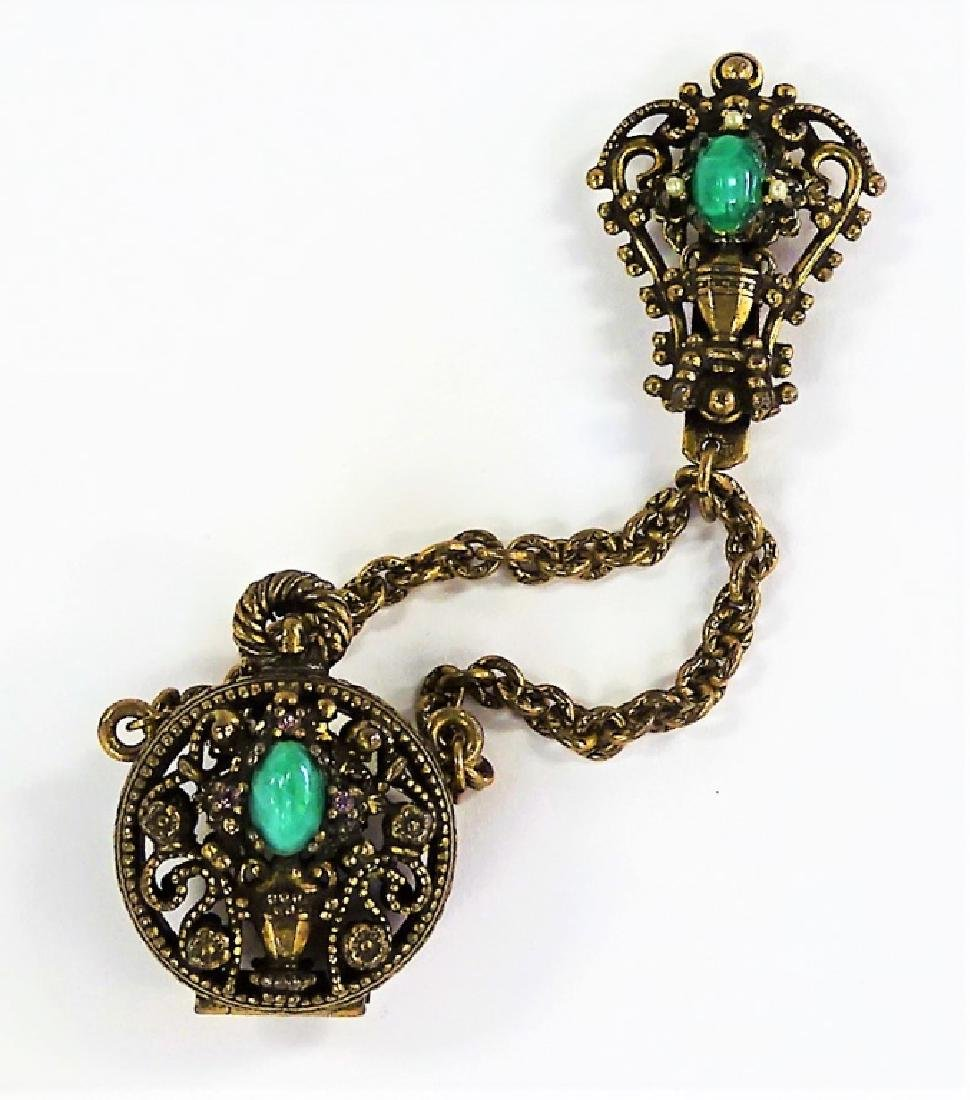 VINTAGE JEWELED FILIGREE LOCKET BROOCH