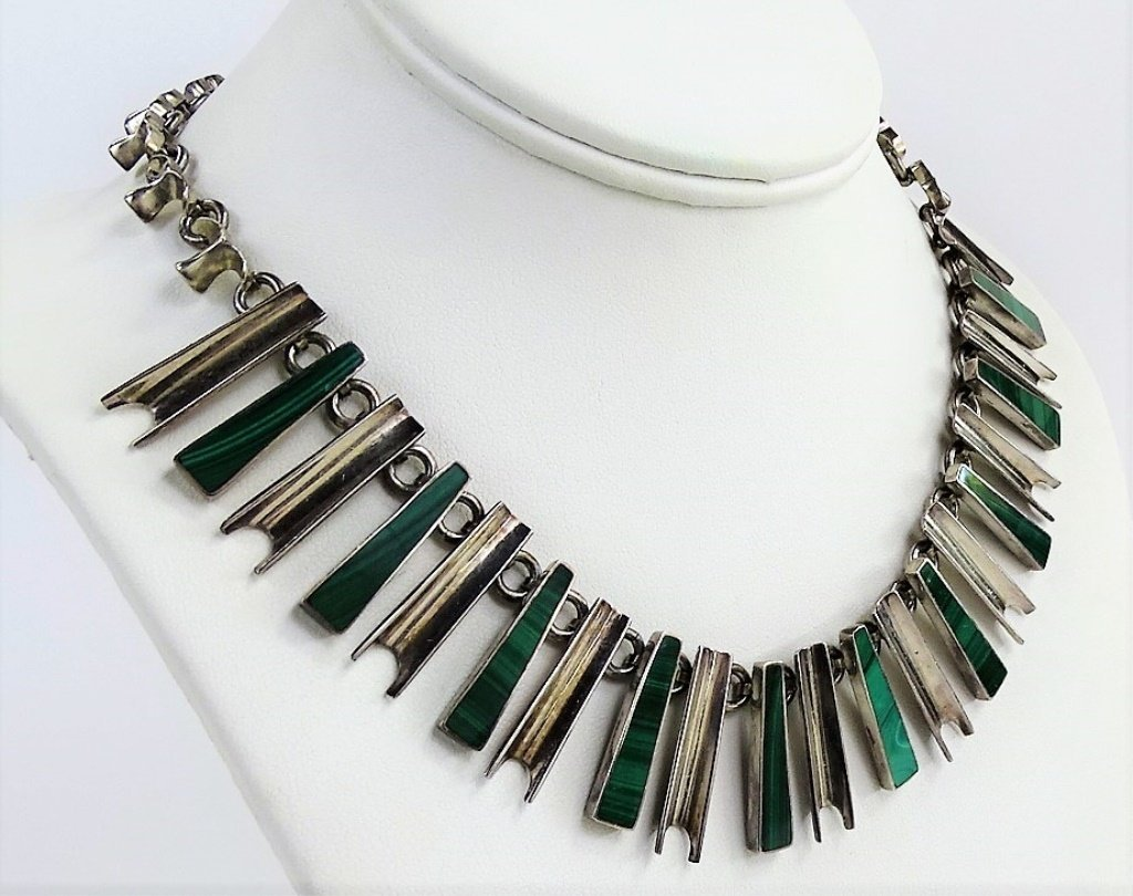 VINTAGE MEXICAN STERLING SILVER MALACHITE NECKLACE - 2