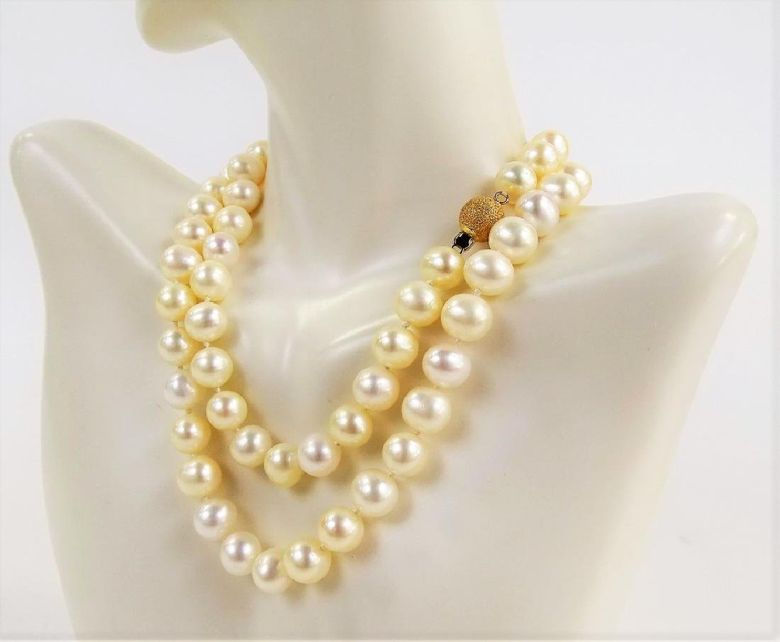 """ESTATE 14K YELLOW GOLD 22"""" NATURAL PEARL NECKLACE - 2"""