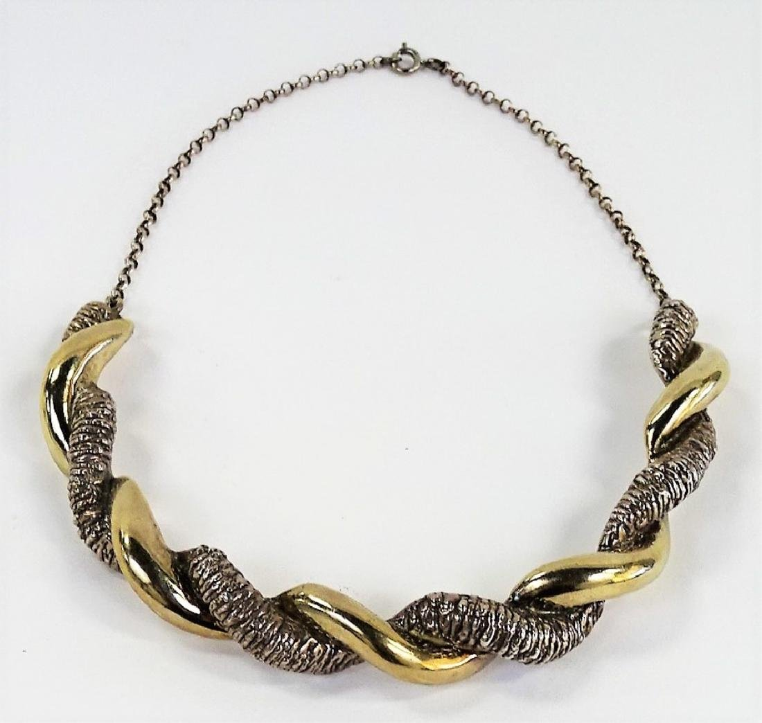 ISRAELI STERLING SILVER TWISTED CHOKER NECKLACE