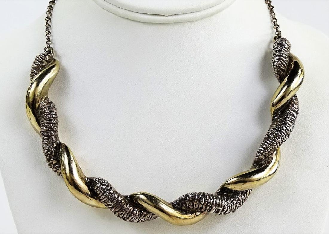 ISRAELI STERLING SILVER TWISTED CHOKER NECKLACE - 2