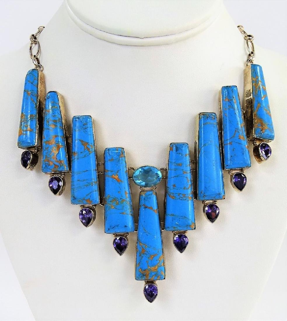 STERLING SILVER TURQUOISE HI-FASHION NECKLACE