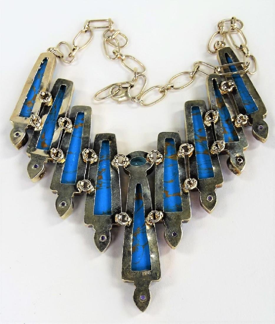 STERLING SILVER TURQUOISE HI-FASHION NECKLACE - 3