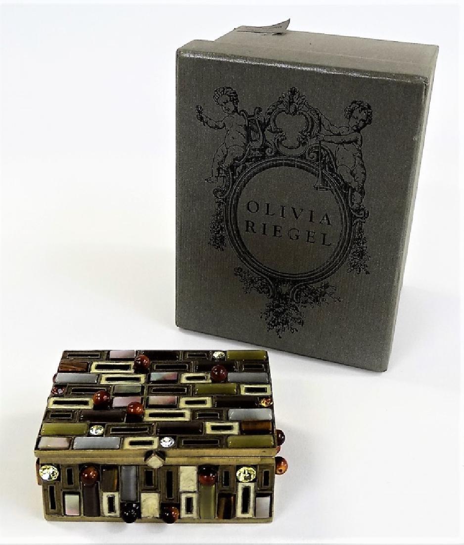 OLIVIA RIEGEL JEWELED & ENAMELED BRONZE BOX