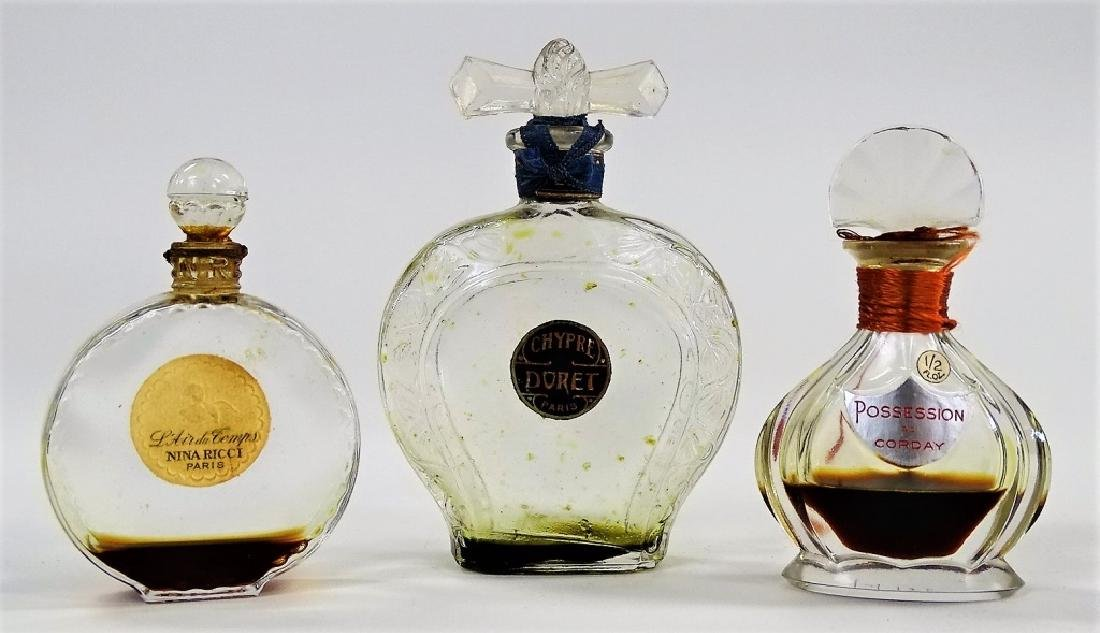 LOT OF 3 ANTIQUE FRENCH CRYSTAL PERFUME BOTTLES