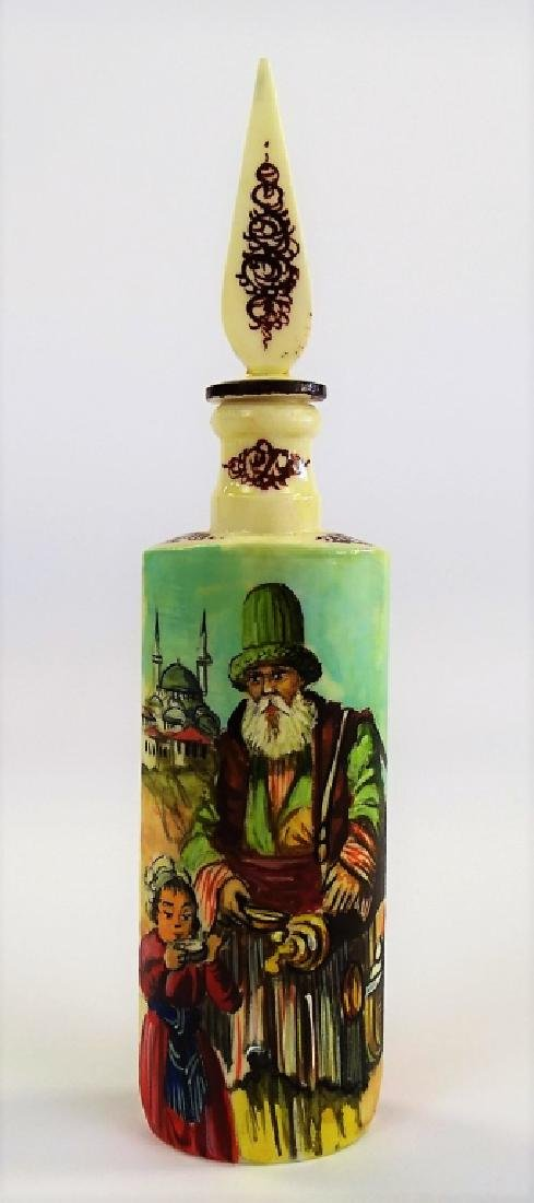 ANTIQUE HAND PAINTED & CARVED BONE SCENT BOTTLE