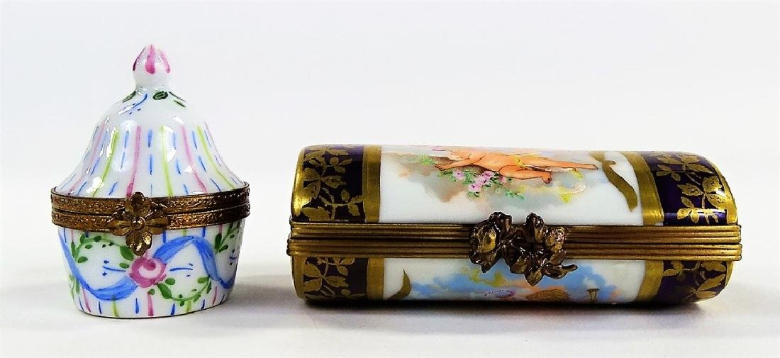 2 LIOMGES HAND PAINTED PORCELAIN TRINKET BOXES