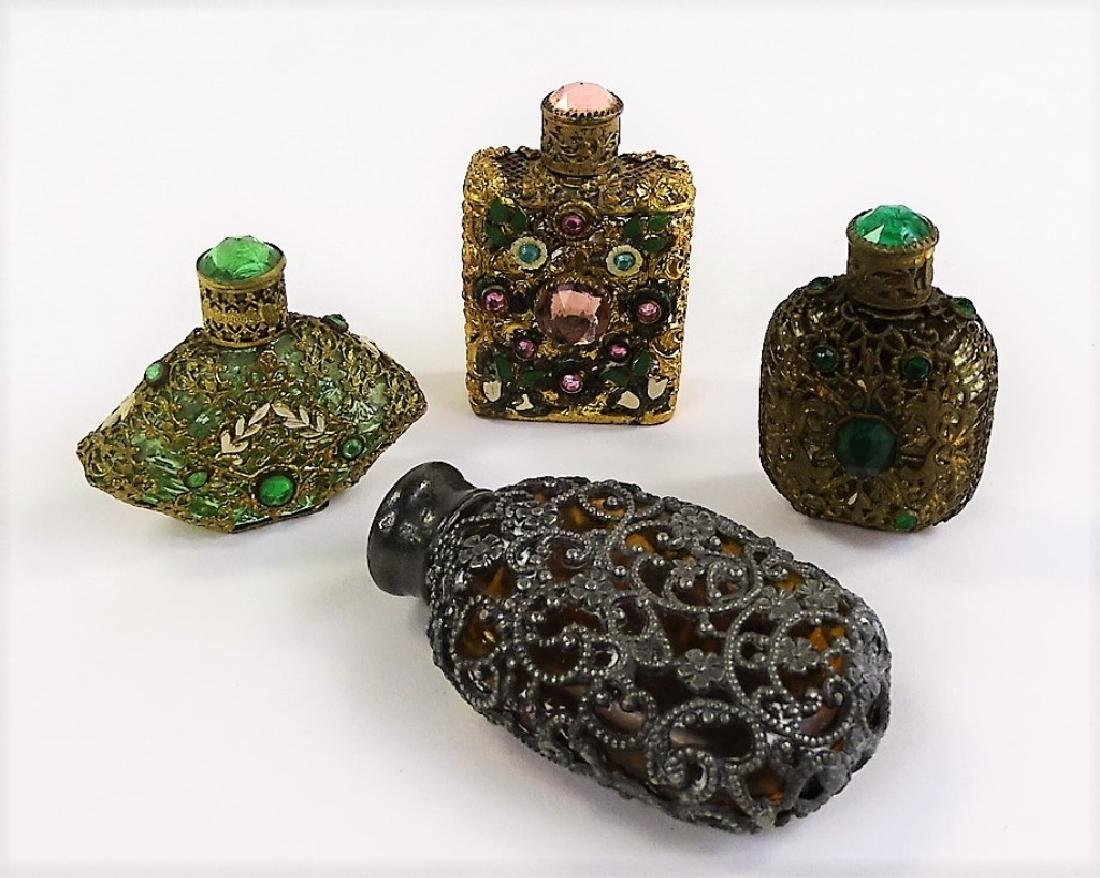 FOUR ANTIQUE FRENCH OVERLAY PERFUME BOTTLES