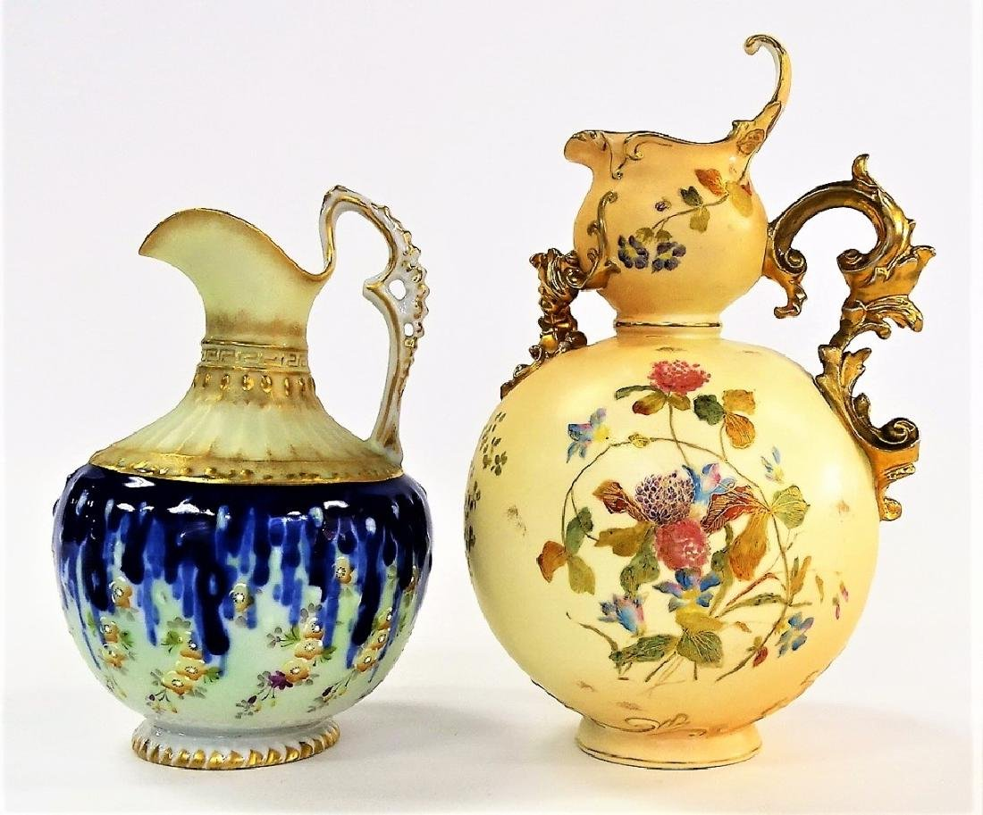 2 ANTIQUE CONTINENTAL HAND PAINTED EWERS