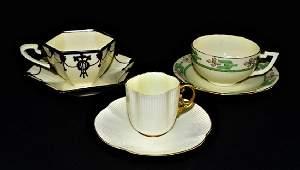 3 ANTIQUE LENOX BELLEEK HP PORCELAIN TEA CUPS