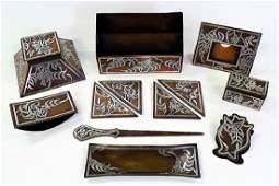 12PC HEINTZ ARTS & CRAFTS BRONZE & SILVER DESK SET