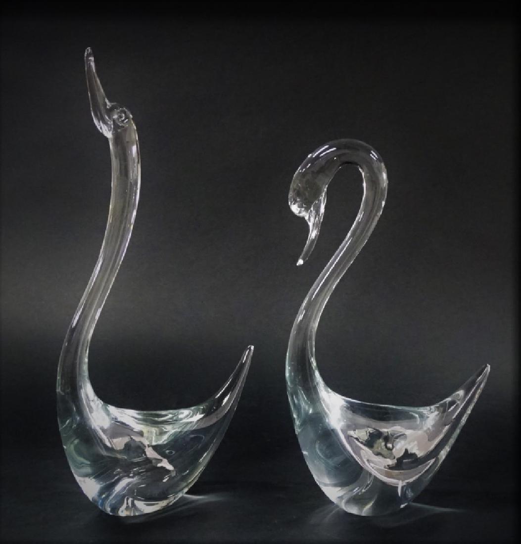 LIVIO SEGUSO MURANO BLOWN LARGE ART GLASS SWANS