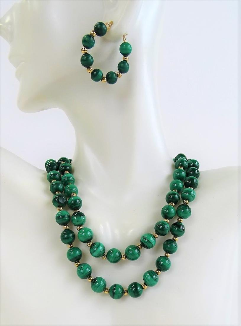 3PC 14K GOLD & MALACHITE BEADED JEWELRY SUITE