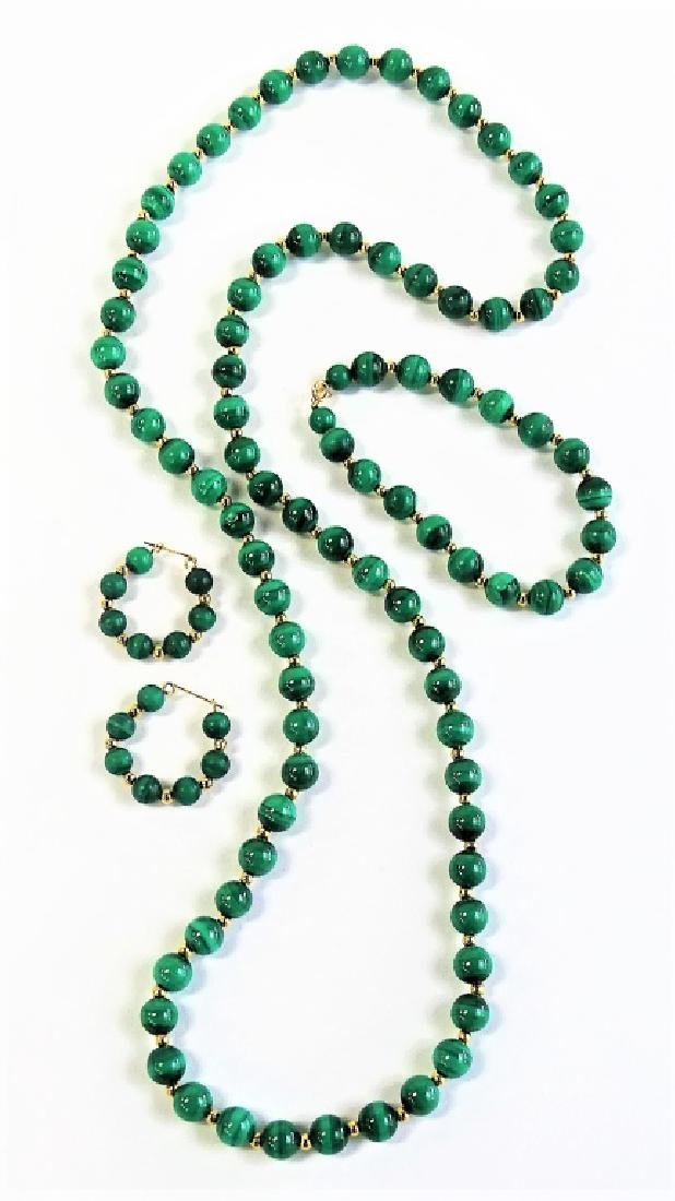 3PC 14K GOLD & MALACHITE BEADED JEWELRY SUITE - 2