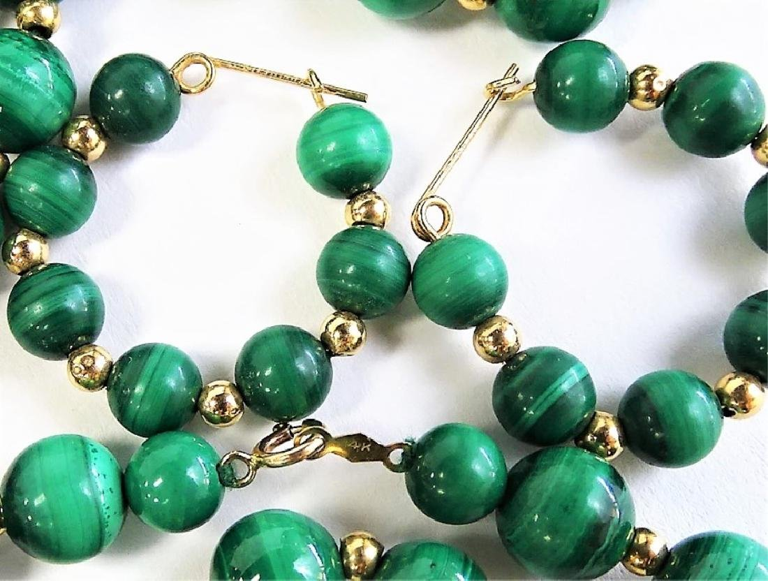 3PC 14K GOLD & MALACHITE BEADED JEWELRY SUITE - 3