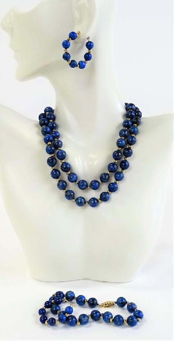 3PC 14K GOLD & LAPIS LAZULI BEADED JEWELRY SUITE