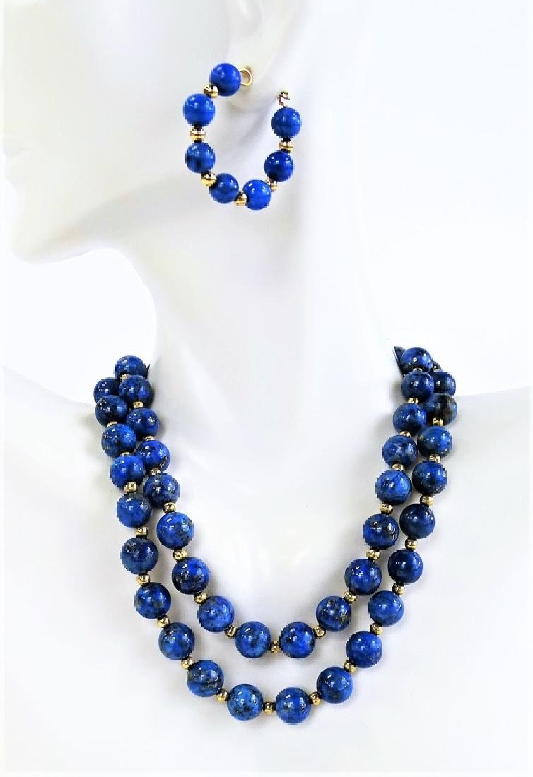 3PC 14K GOLD & LAPIS LAZULI BEADED JEWELRY SUITE - 2