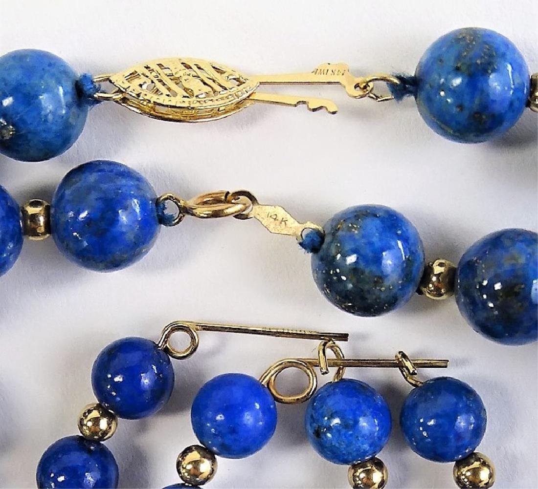 3PC 14K GOLD & LAPIS LAZULI BEADED JEWELRY SUITE - 4