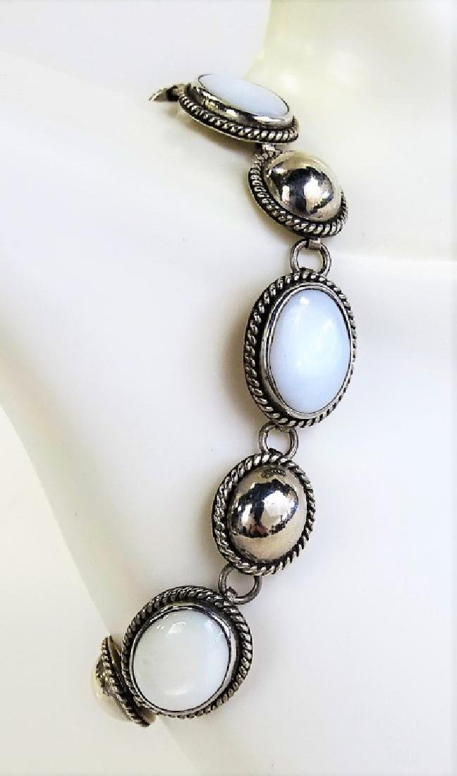 TAXCO MEXICO .925 STERLING & MOONSTONE BRACELET - 2