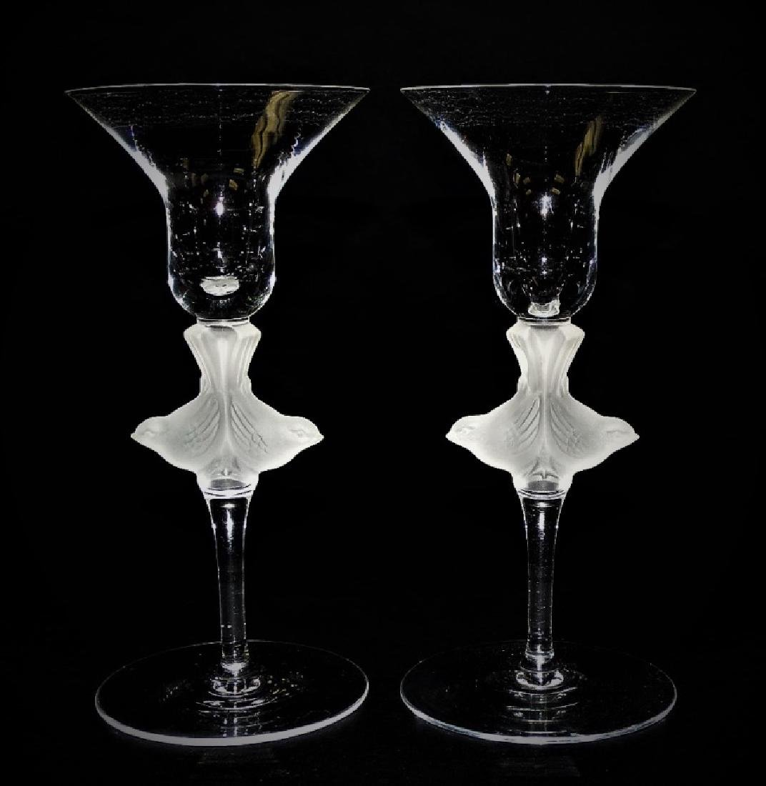 PR LALIQUE STYLE FRENCH CRYSTAL CHAMPAGNE GLASSES