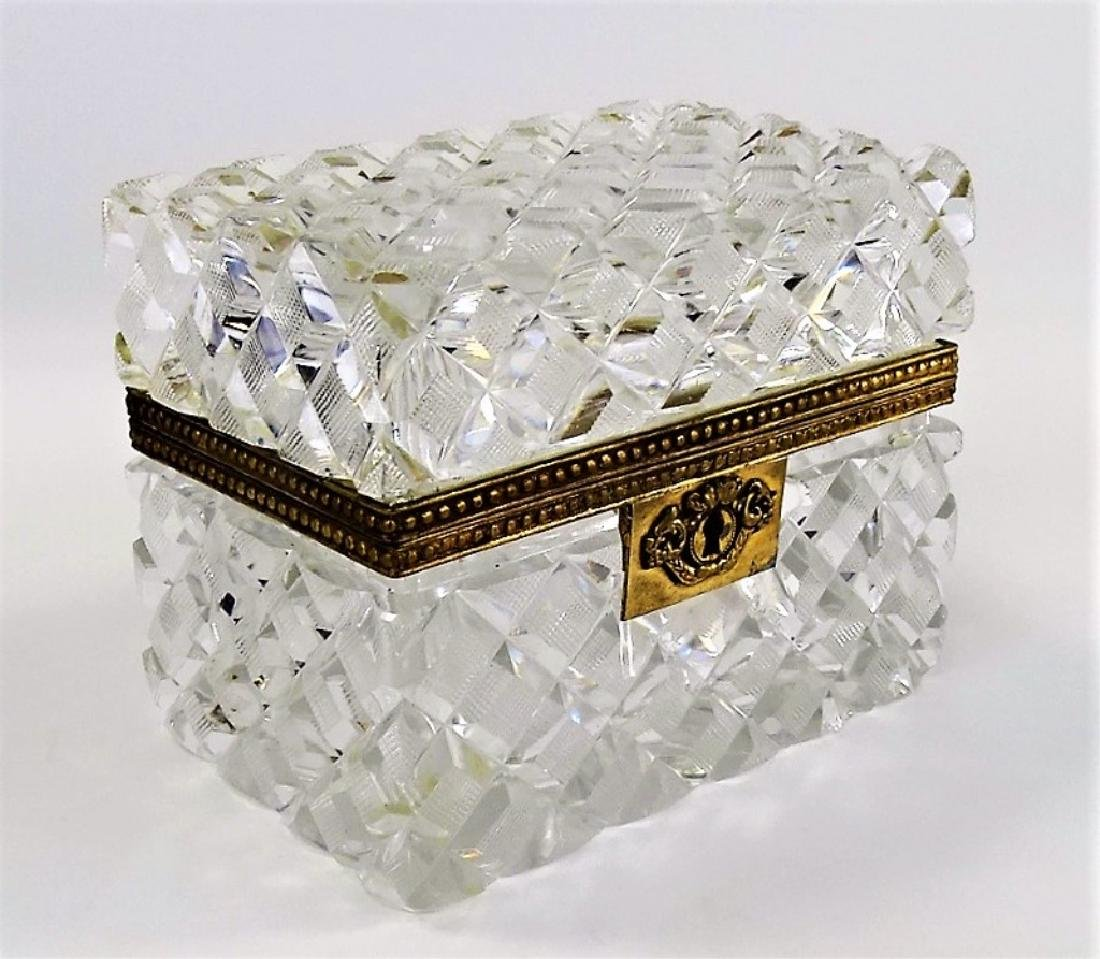 ANTIQUE BACCARAT STYLE FRENCH CRYSTAL DRESSER BOX - 2