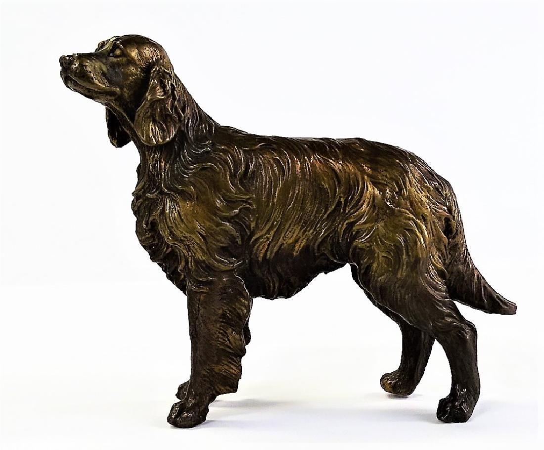 MID CENTURY REPOUSSE RETRIEVER DOG FIGURINE