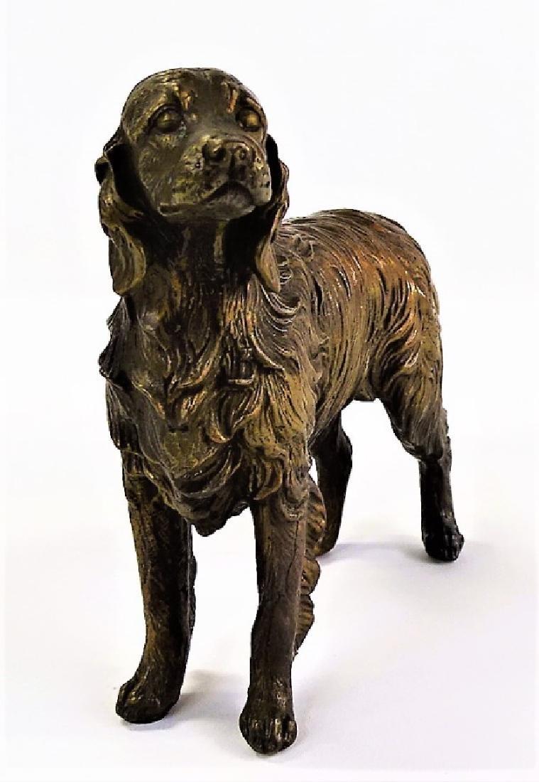 MID CENTURY REPOUSSE RETRIEVER DOG FIGURINE - 2