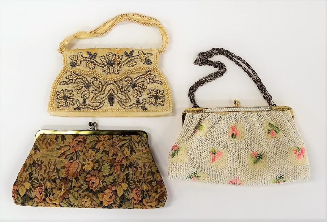 LOT OF 3 VINTAGE BEADED & EMBROIDERED HANDBAGS