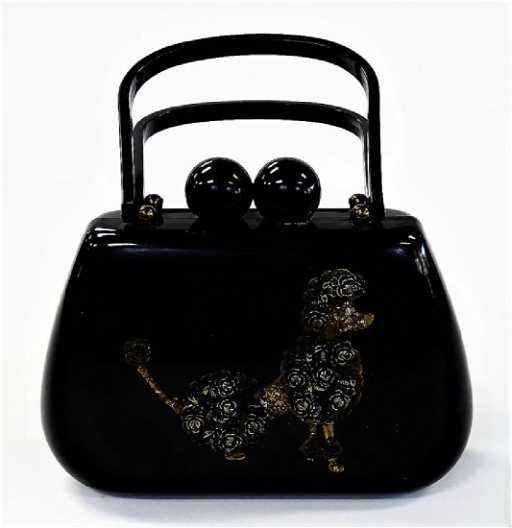 b2cfbb69483f LADIES VINTAGE BLACK BAKELITE POODLE PURSE