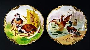 CORONET LIMOGES HAND PAINTED PORCELAIN GAME PLATES