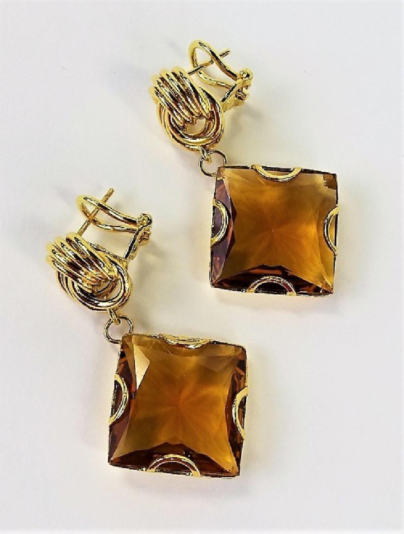 VINTAGE ITALIAN 14K YELLOW GOLD & CITRINE EARRINGS