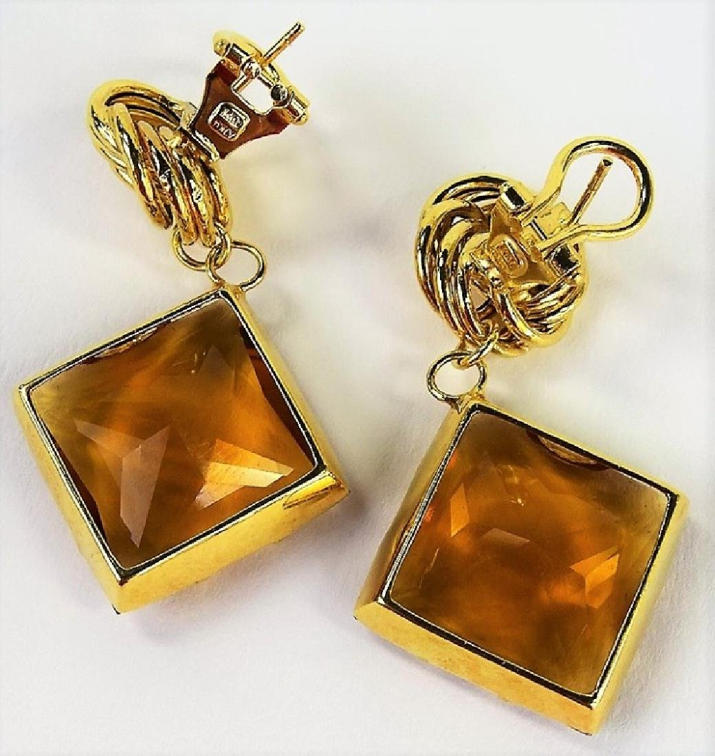 VINTAGE ITALIAN 14K YELLOW GOLD & CITRINE EARRINGS - 3
