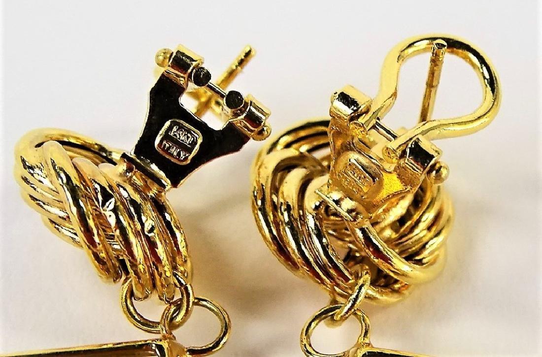 VINTAGE ITALIAN 14K YELLOW GOLD & CITRINE EARRINGS - 4