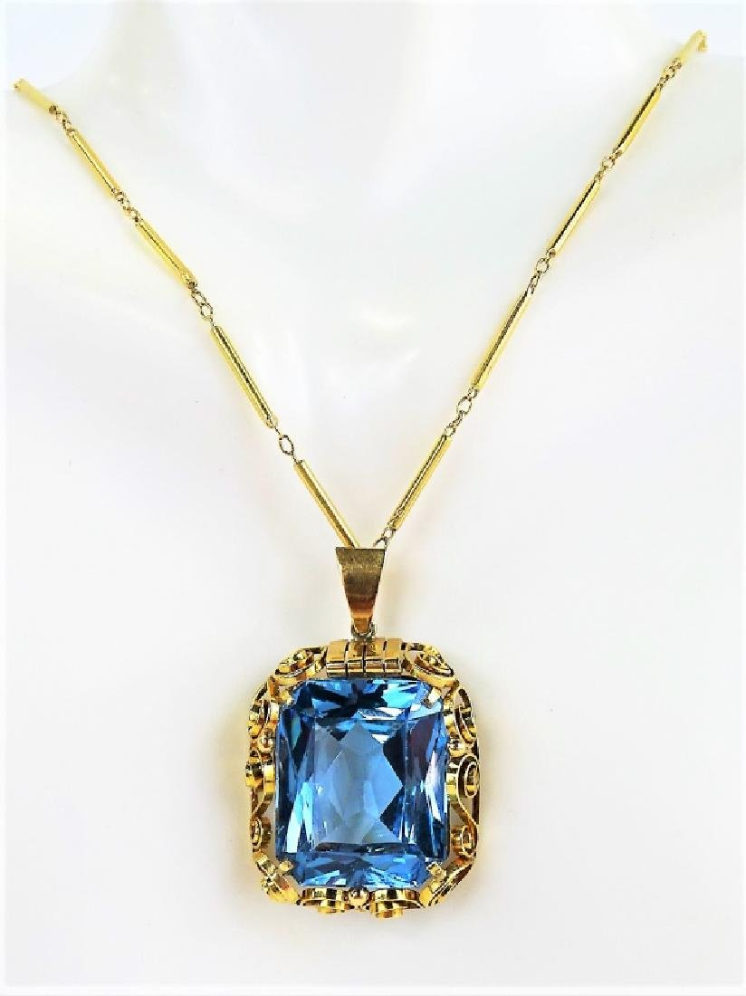 ESTATE 14K YELLOW GOLD & SPINEL PENDANT NECKLACE