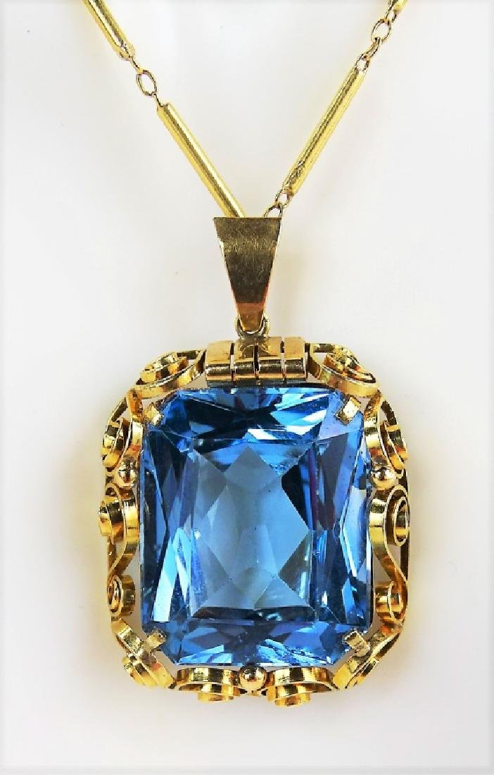 ESTATE 14K YELLOW GOLD & SPINEL PENDANT NECKLACE - 2
