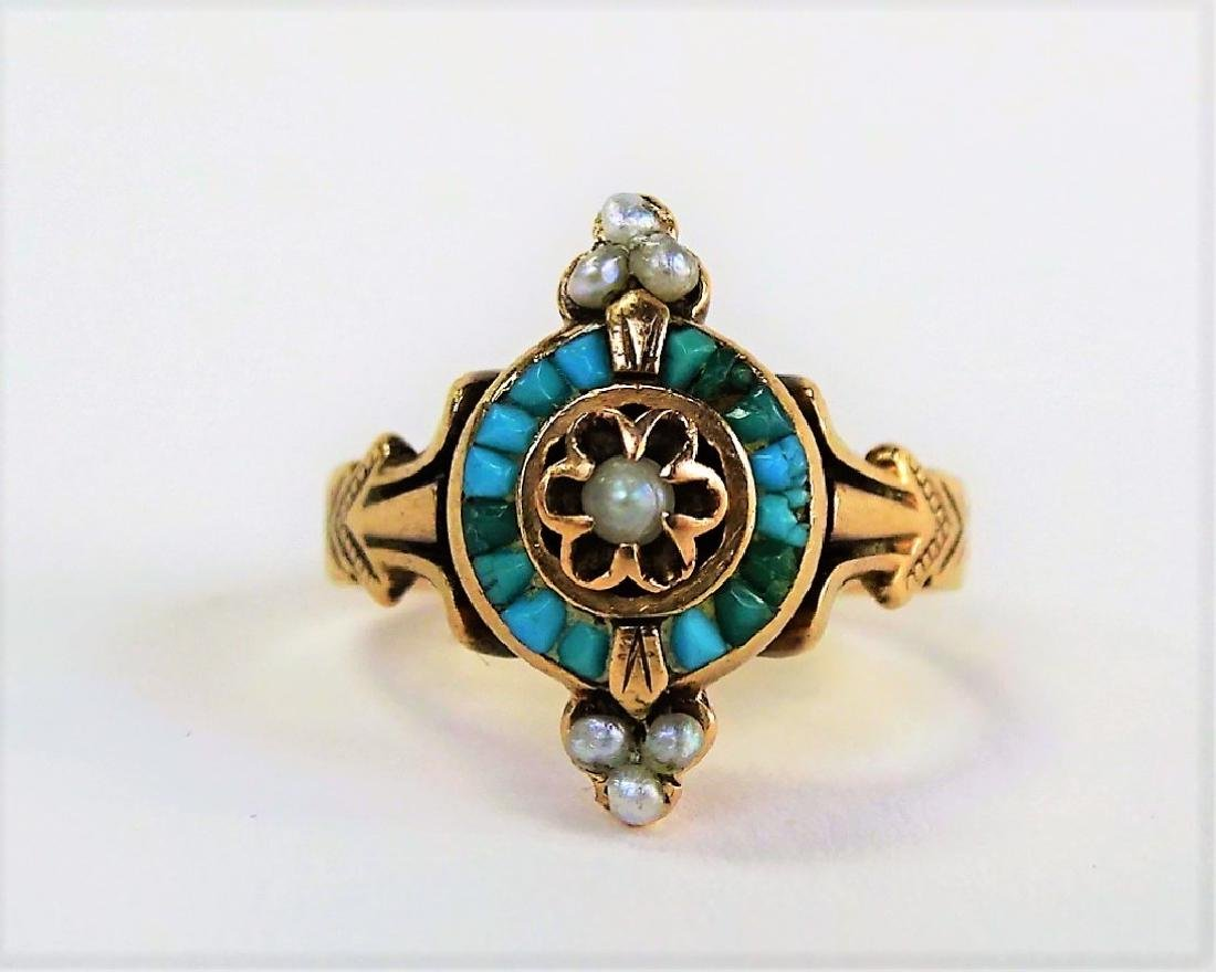 VICTORIAN 9KT YELLOW GOLD TURQUOISE & PEARL RING