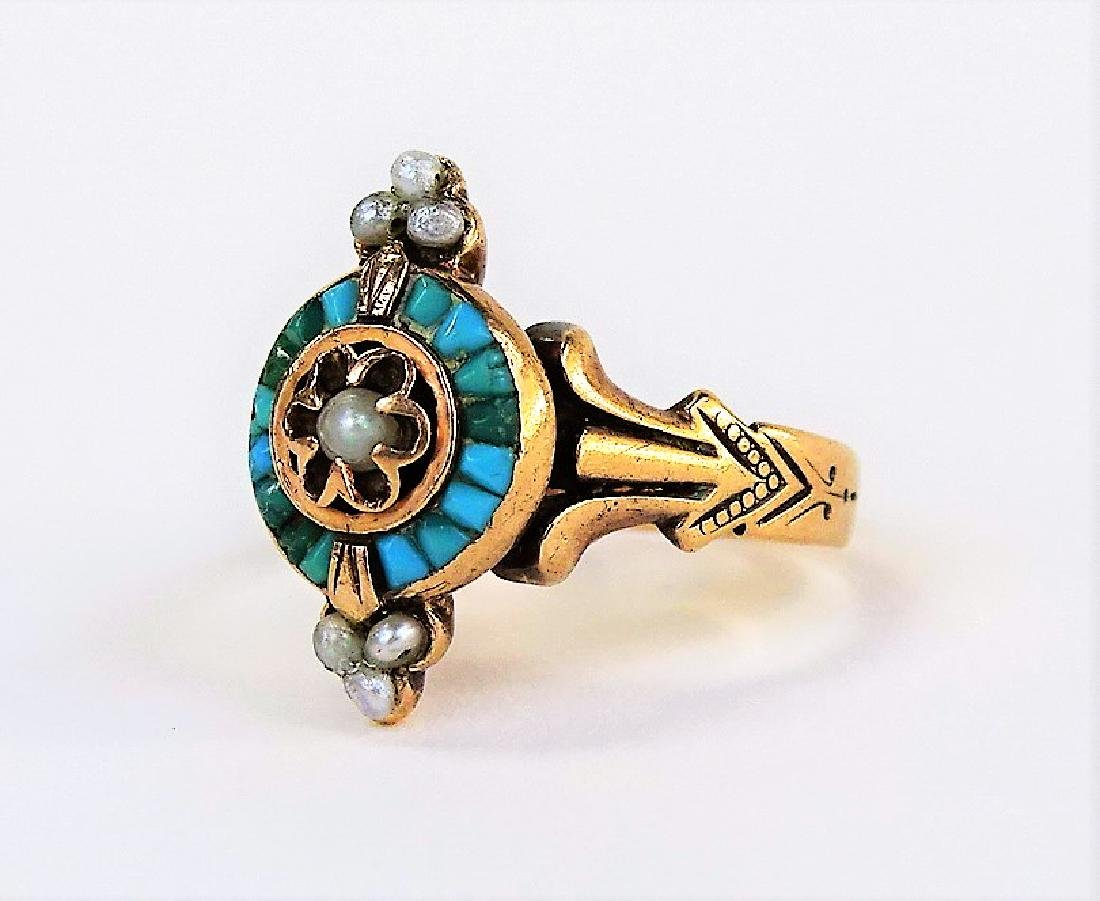 VICTORIAN 9KT YELLOW GOLD TURQUOISE & PEARL RING - 2