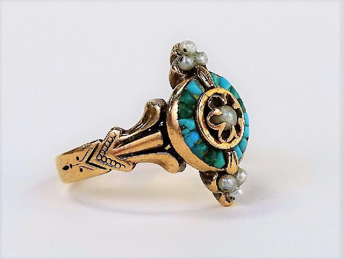 VICTORIAN 9KT YELLOW GOLD TURQUOISE & PEARL RING - 3